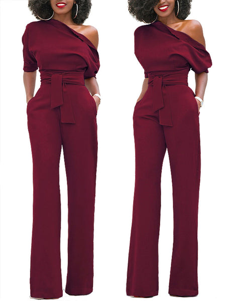 [Special Sale] Off One Shoulder Solid High Waist Jumpsuit with Belt