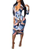 Digital Print Zipper Up Belted Midi Dress