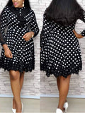 Polka Dot Printed Long Sleeve Lace Patchwork Midi Dress