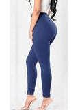 Solid High Waist Stretch Pants