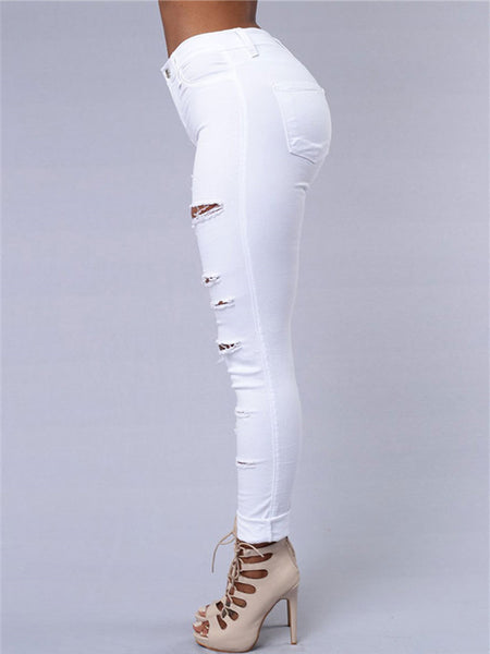 High Waist Distressed Zipper Closure Solid Color Jeans