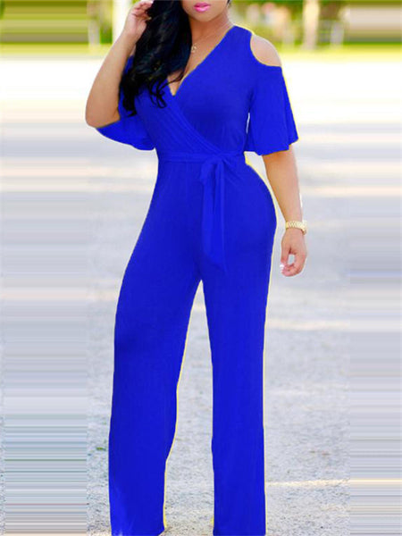 V Neck Cold Shoulder Wrap Jumpsuit