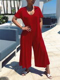 Short Sleeve Hooded Collar Wide Leg Casual Jumpsuit