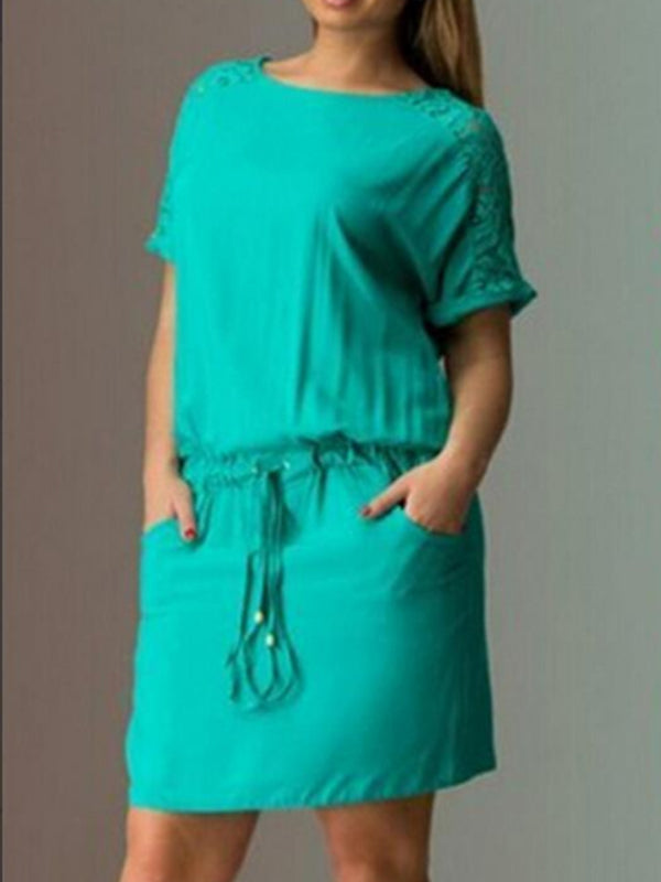 Plus Size Solid Color Drawstring Waisted Midi Dress