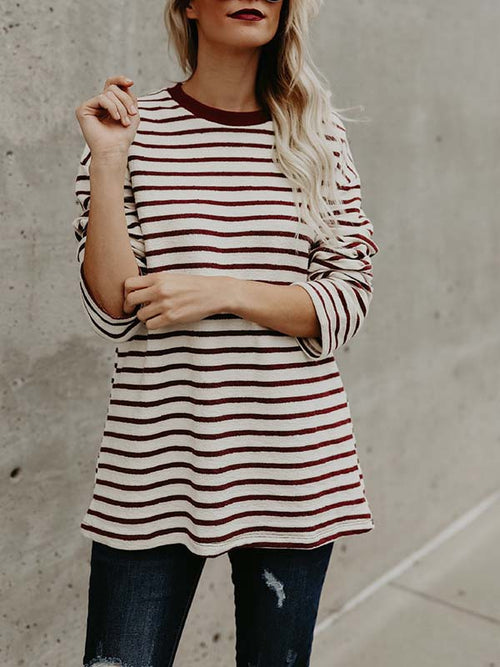 Stripe Print Long Sleeve Casual Blouse