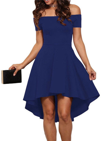 Asymmetric Hem Off the Shoulder Party Dress