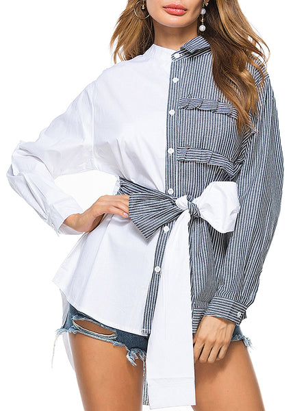 Color Block Long Sleeve Blouse With Bowknot