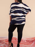 Plus Size Round Neck Half Sleeve Stripe Blouse