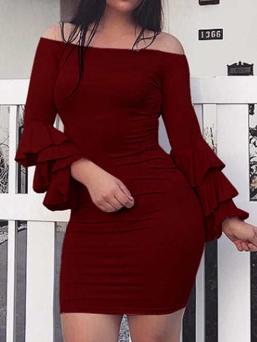 Off The Shoulder Puff Sleeves Mini Dress