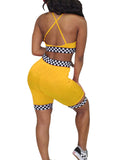 Sexy Backless Patchwork Two Pieces Suit