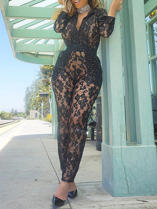 Black Lace Jumpsuit With Sequins
