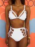 Lace-up High Waist Solid Swimwear