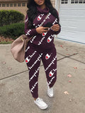 Cowl Neck Letter Print Long Sleeve Two Piece Outfits