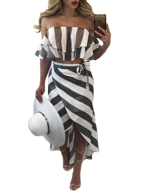 Striped Off the Shoulde Asymmetrical Dress