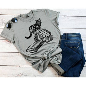 Book Store Cat T-Shirt - Grey
