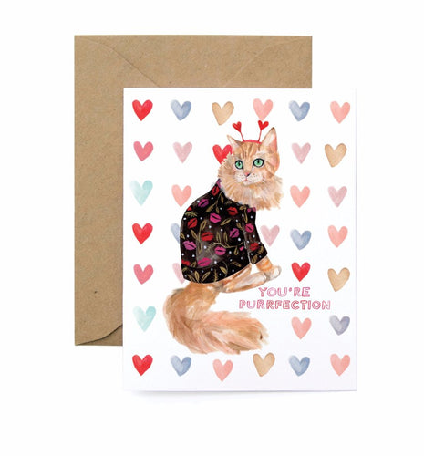 You're Purrfection Valentine's Day Card Cat