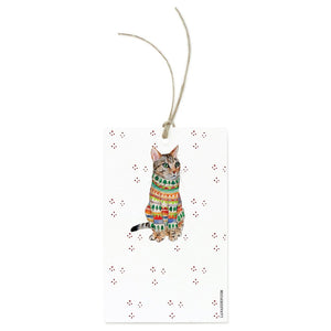 Tabby Cat With A Sweater Gift Tag