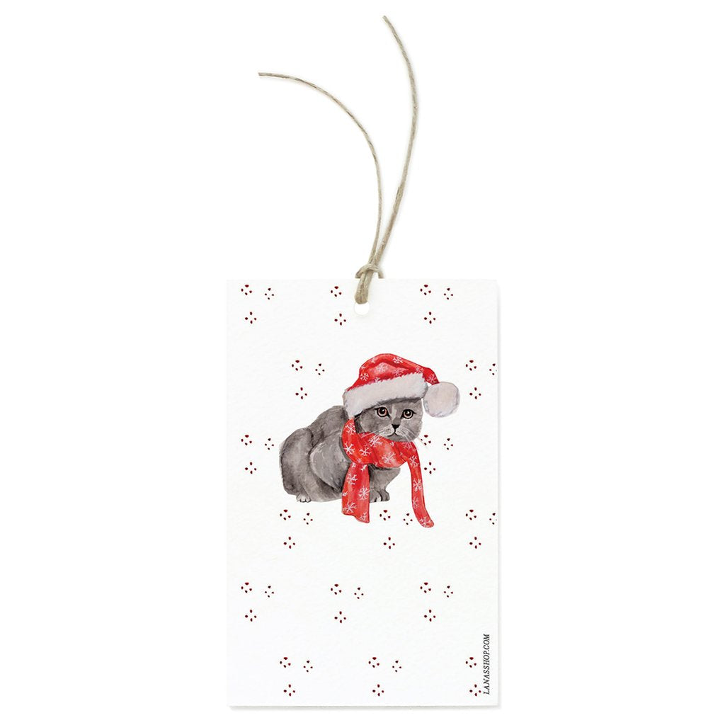 Grey Cat With A Santa Hat Gift Tag