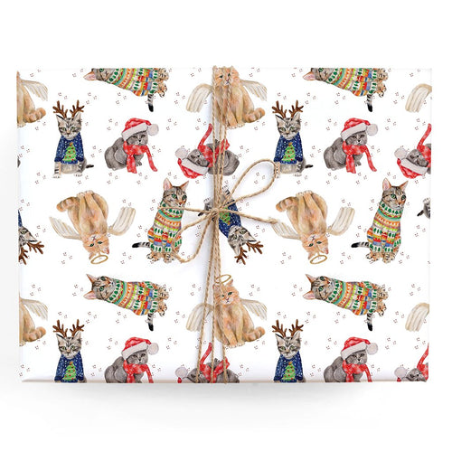 Holiday Cats Gift Wrap - Single Sheet