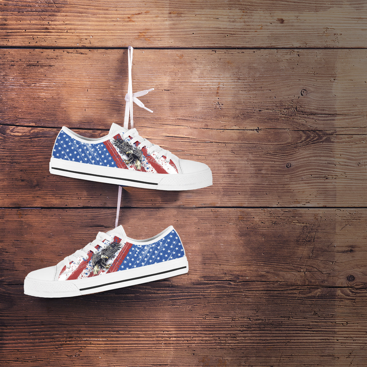 USA Flag & Eagle - Men's Low Top Shoes
