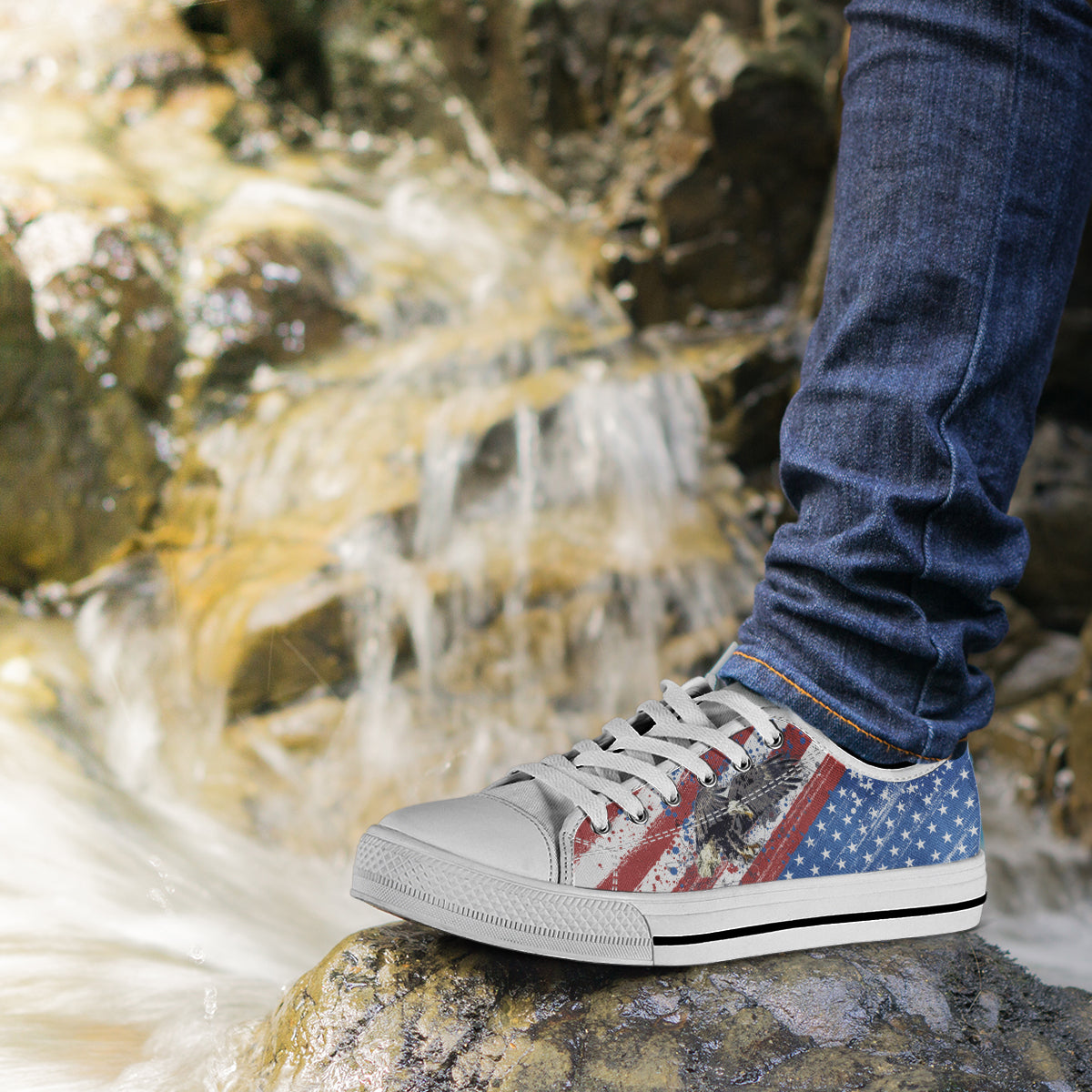 USA Flag & Eagle - Women's Low Top Shoes