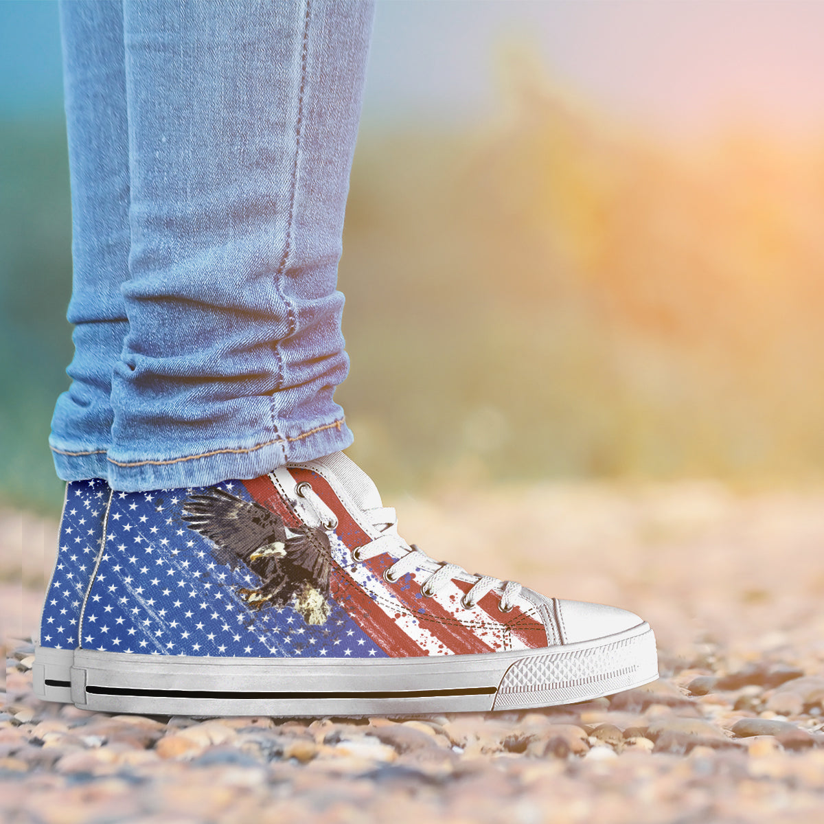 USA Flag & Eagle - Men's High Top Shoes