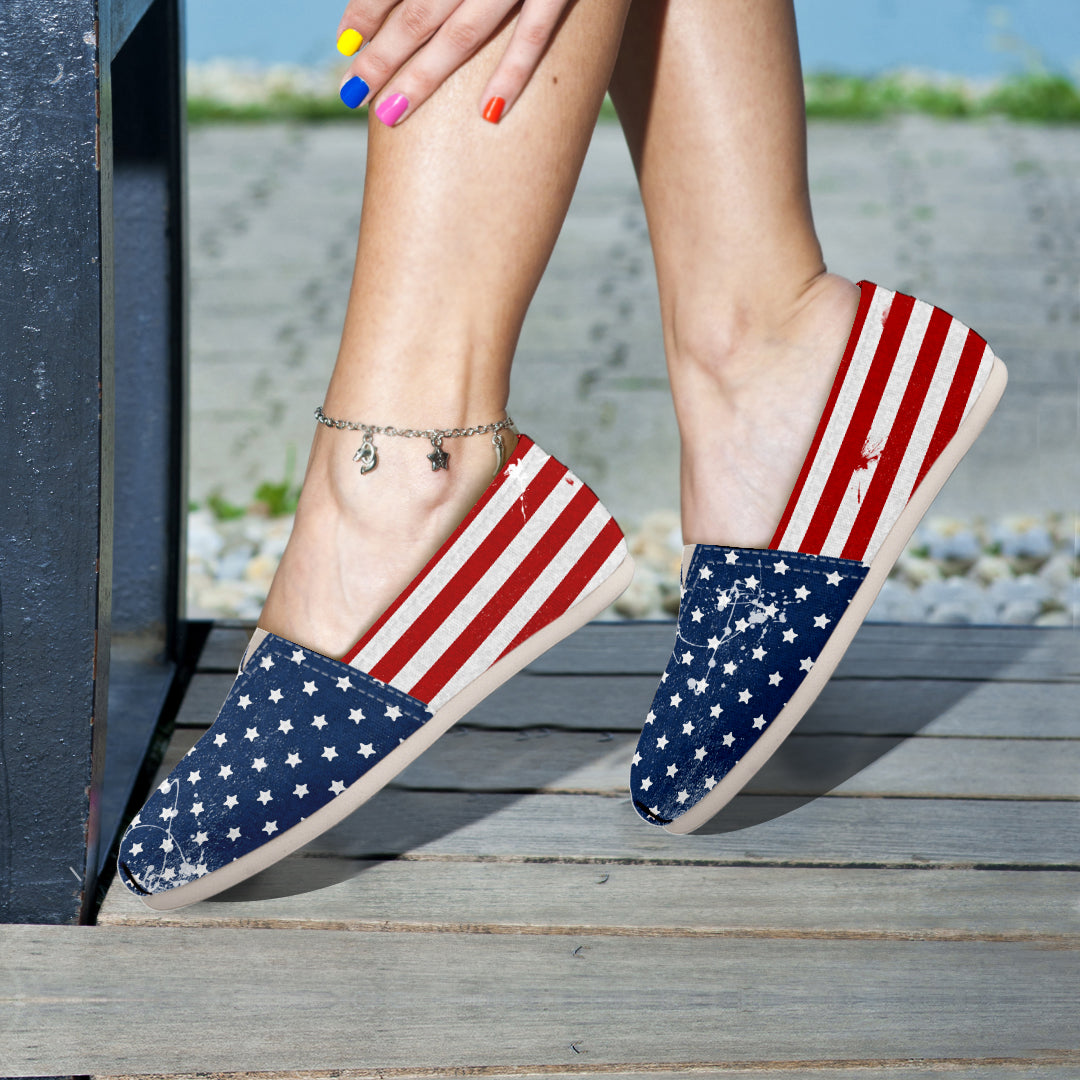 USA Flag Painted - Women's Slip Ons