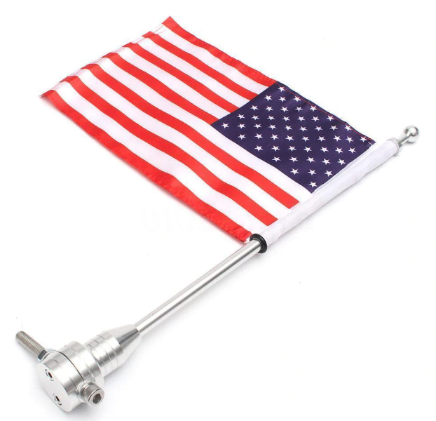 Motorcycle USA Flag with Pole
