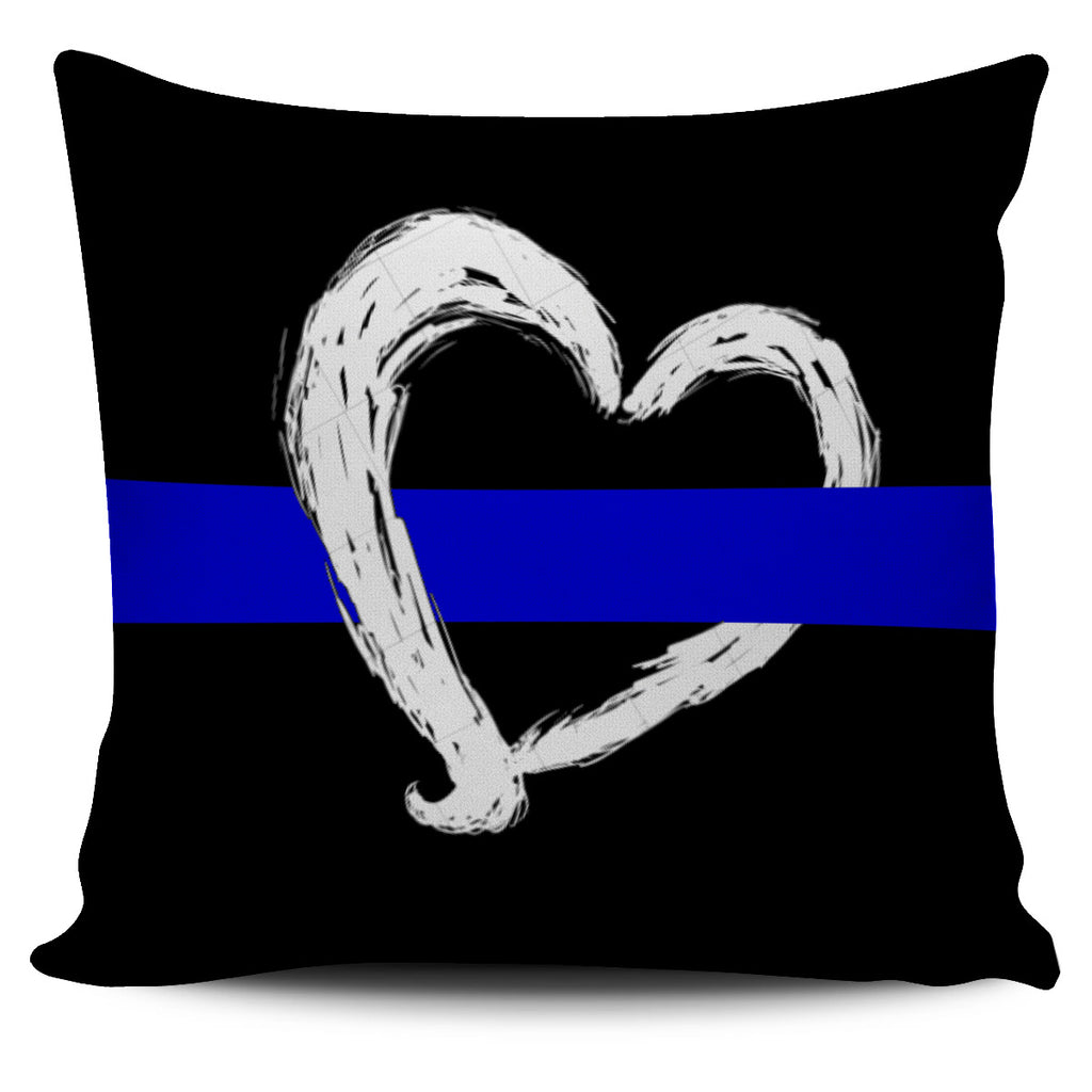 Blue Line Heart Pillow