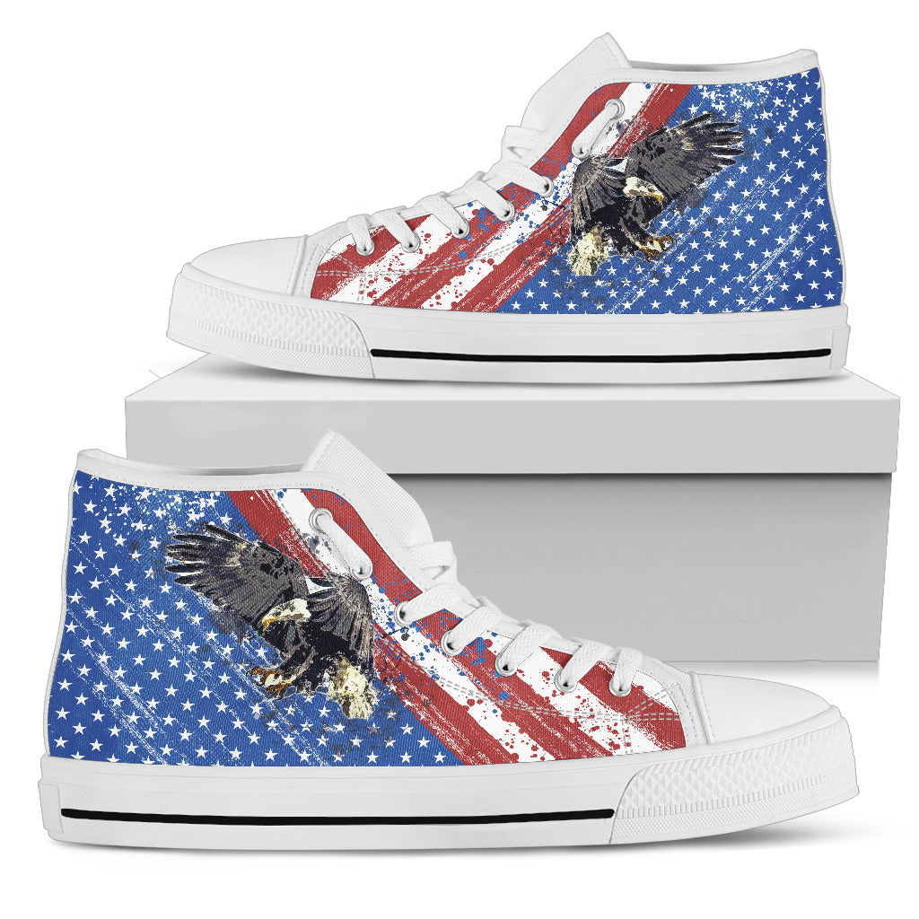 USA Flag & Eagle - Women's High Top Shoes
