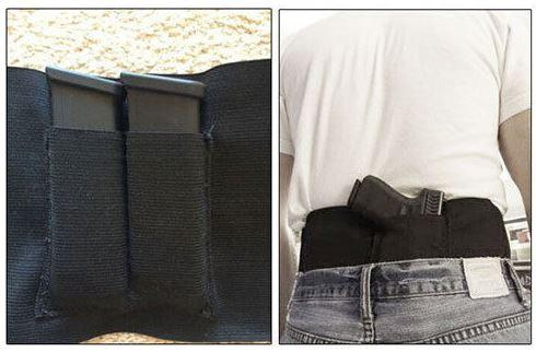 Belly Band Holster - Concealed, Universal Left & Right with 2 Mag Pouches