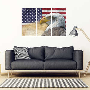 American Flag Bald Eagle Patriotic 3-Piece Framed Wall Art Canvas - 3 Piece