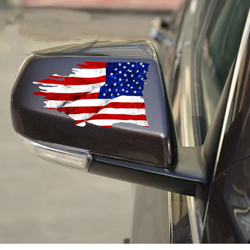 FREE - USA Tattered Flag - Side Mirror Sticker 2 Pack