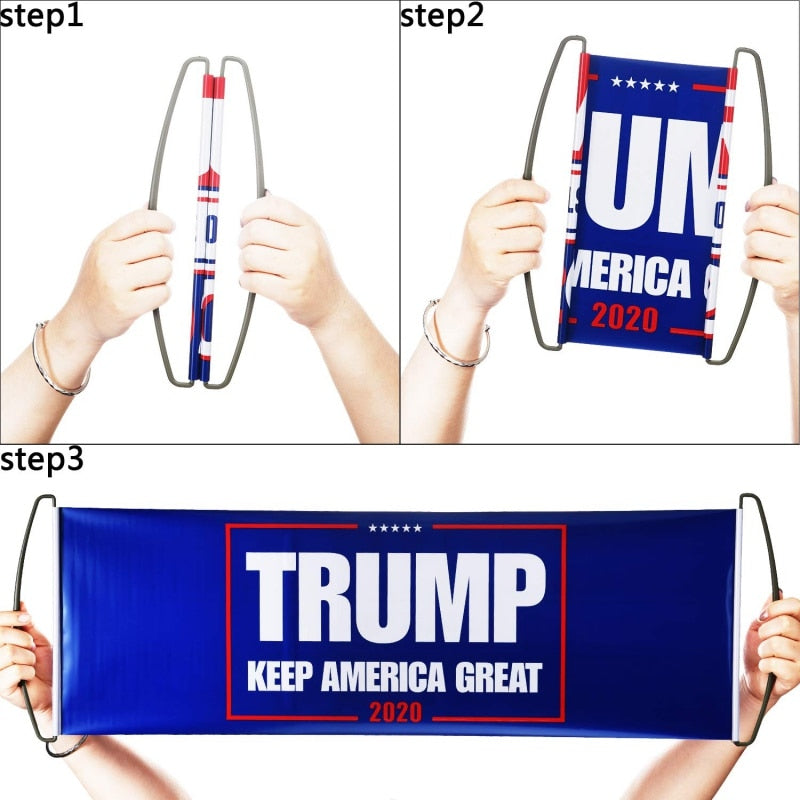 "FREE Hand Held Trump 2020 Flag - 10"" x 28"""