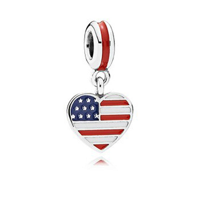 Heart Shaped USA Bangle Charm