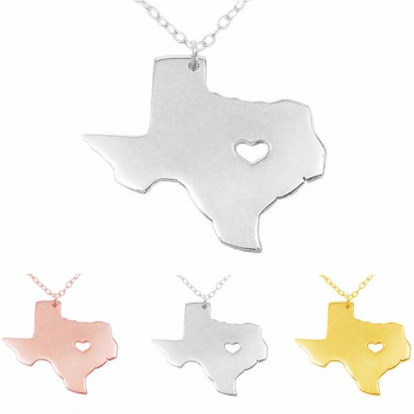 Texas Map Necklace with Heart