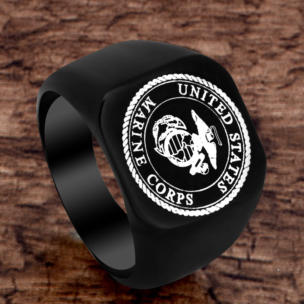 FREE US Marine Corps Black Ring - Eagle, Globe, Anchor