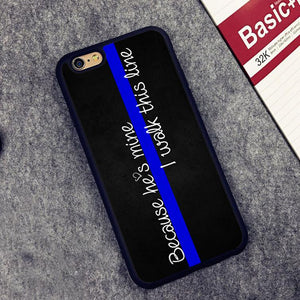 """Because He's Mine, I Walk This Line"" - Blue Line Phone Case"