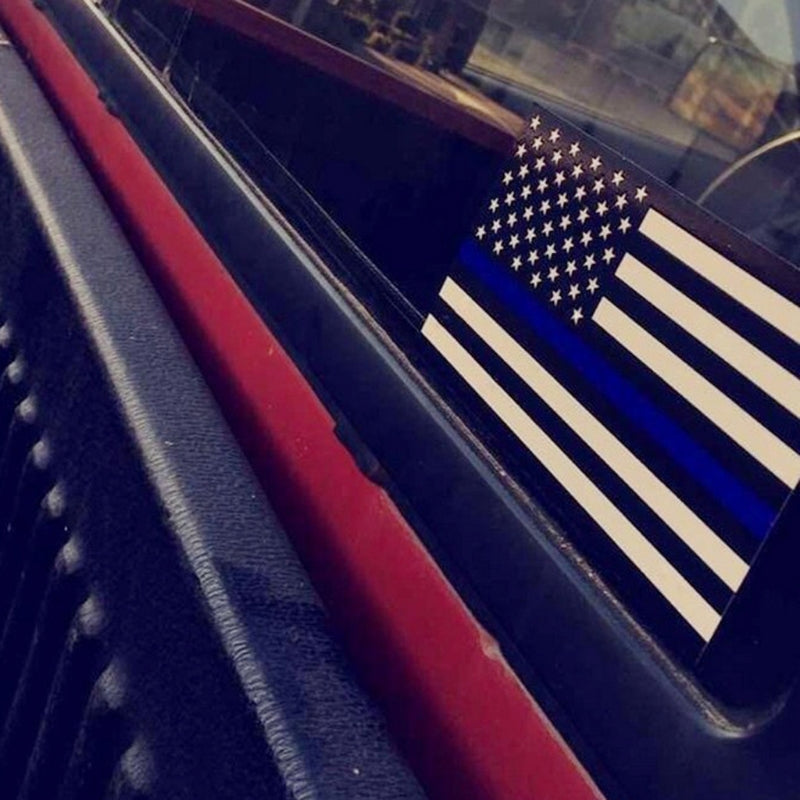 Thin Blue Line USA Flag Car Decal
