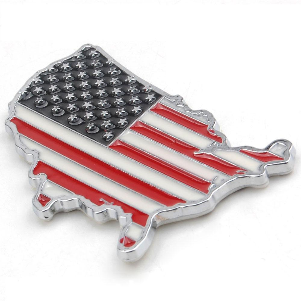 3D Metal American Flag Car Decal