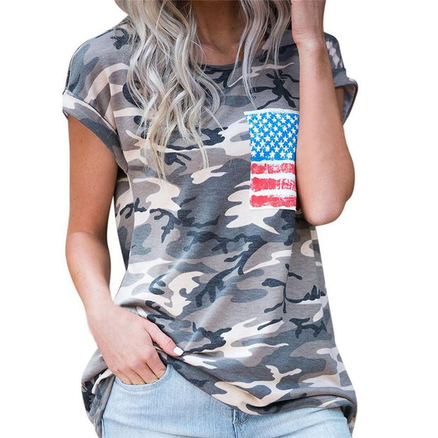 Ladies Camo & Flag T-Shirt