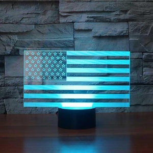 3D AMERICAN FLAG CHANGING COLOR LAMP (LED)