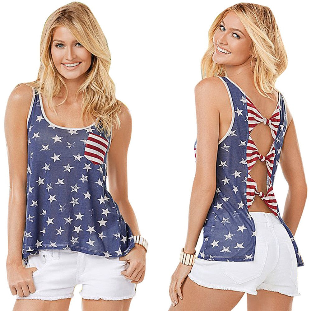 Women's Sleeveless USA Stars and Stripes Tank Top
