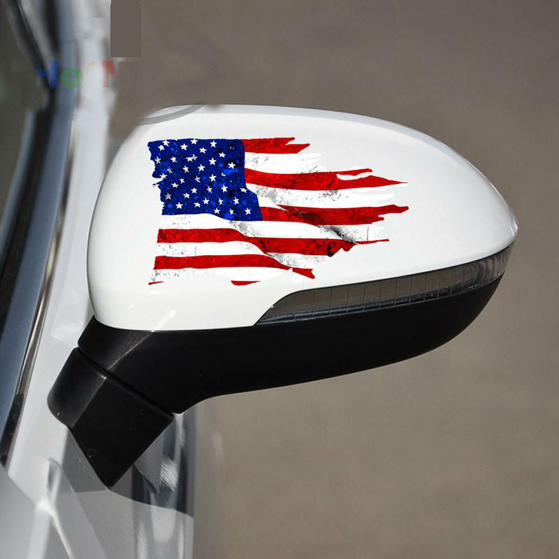 USA Tattered Flag - Side Mirror Sticker 2 Pack