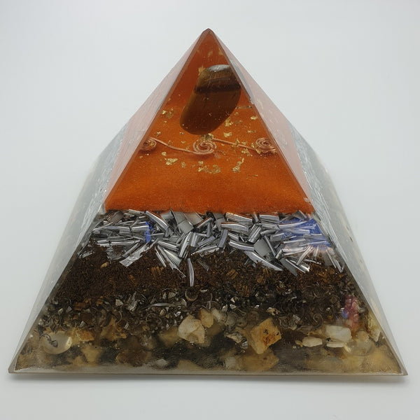 Medium Tiger Eye Orgone Crystal Art  Pyramid