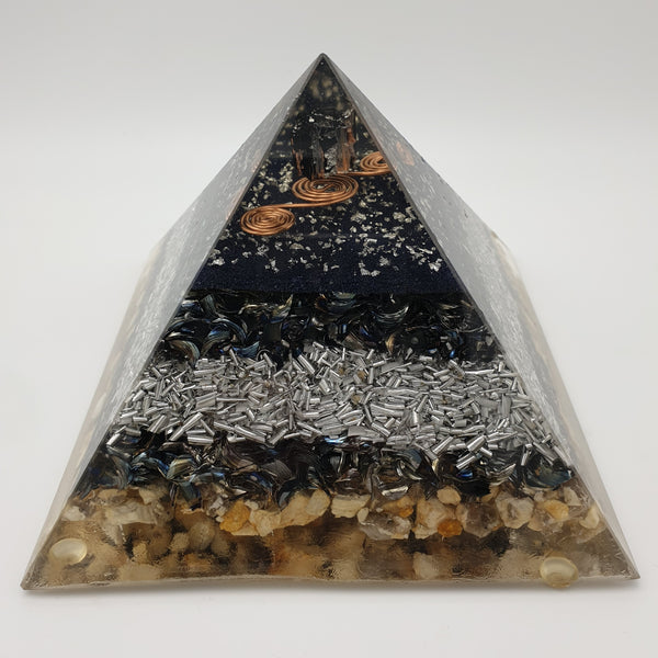 Large Black Tourmaline Orgone Crystal Art Pyramid