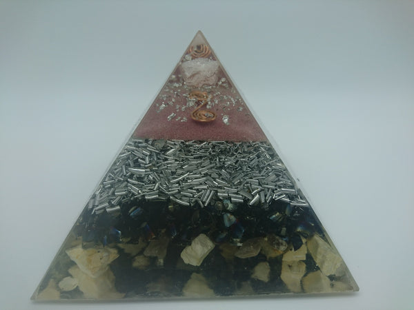 Medium Rose Quartz Orgone Crystal Art  Pyramid