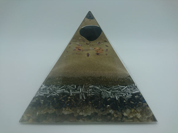 Medium Black Obsidian Orgone Crystal Art Pyramid