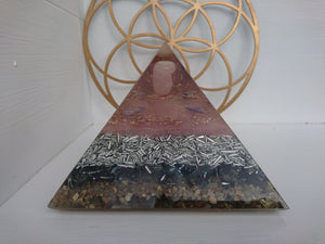 Large Rose Quartz Orgone Art Pyramid