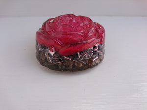Red Selenite Rose Orgone Crystal Art